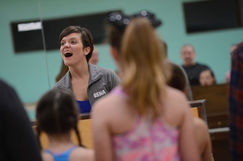 Rena Wilson works through vocal exercises withs students at the Performing Academy in Pleasant Hill, Calif., on Wednesday, Dec. 21, 2017. The building, a former fire station, was owned for many decades by Diablo Theater Company and before that it was known as Diablo Light Opera. The new owners are proud add this facility to their Lamorinda Theater Academy group. (Dan Honda/Bay Area News Group)